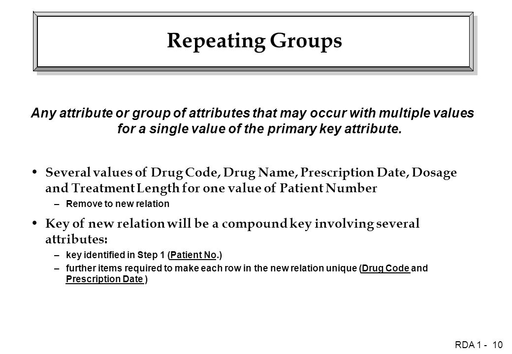 RDA 1 - 10 Repeating Groups Any attribute or group of attributes that may occur with multiple values for a single value of the primary key attribute.