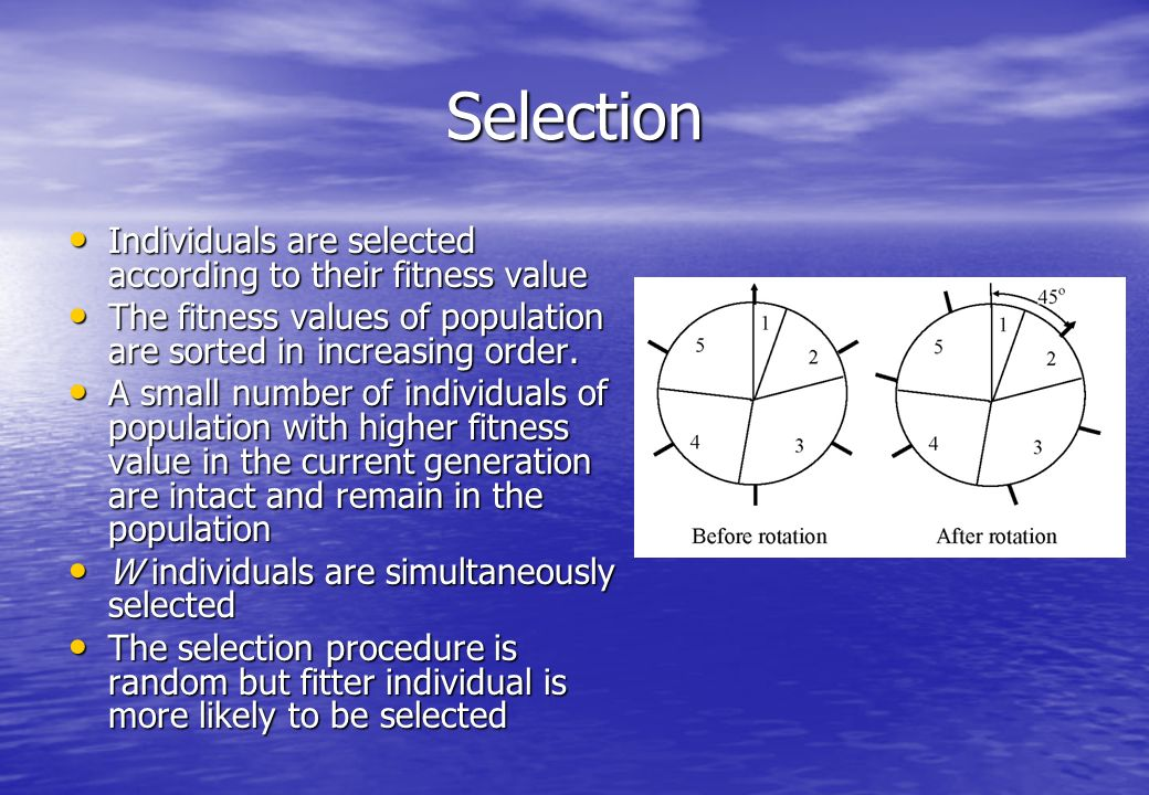 Selection Individuals are selected according to their fitness value Individuals are selected according to their fitness value The fitness values of population are sorted in increasing order.