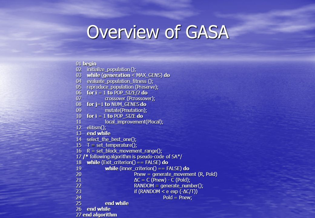 Overview of GASA 01 begin 02 initialize_population (); 03 while (generation < MAX_GENS) do 04 evaluate_population_fitness (); 05 reproduce_population