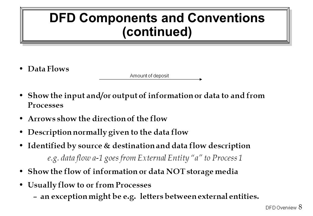 DFD Overview 8 DFD Components and Conventions (continued) Data Flows Show the input and/or output of information or data to and from Processes Arrows