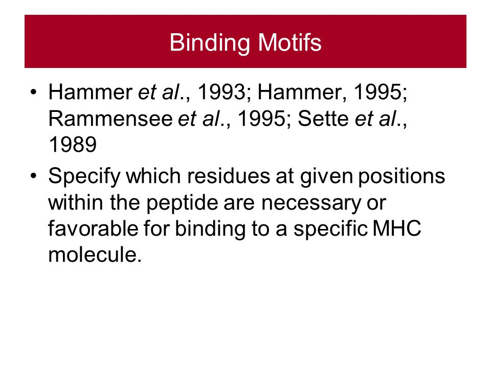Binding Motifs Hammer et al., 1993; Hammer, 1995; Rammensee et al., 1995; Sette et al., 1989 Specify which residues at given positions within the peptide are necessary or favorable for binding to a specific MHC molecule.