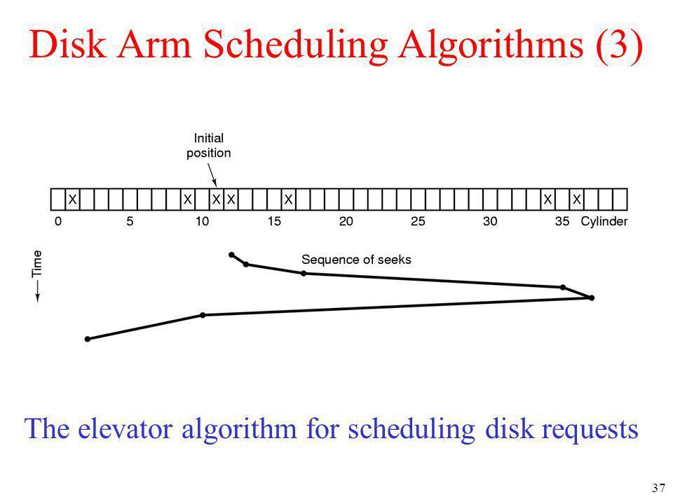 37 Disk Arm Scheduling Algorithms (3) The elevator algorithm for scheduling disk requests
