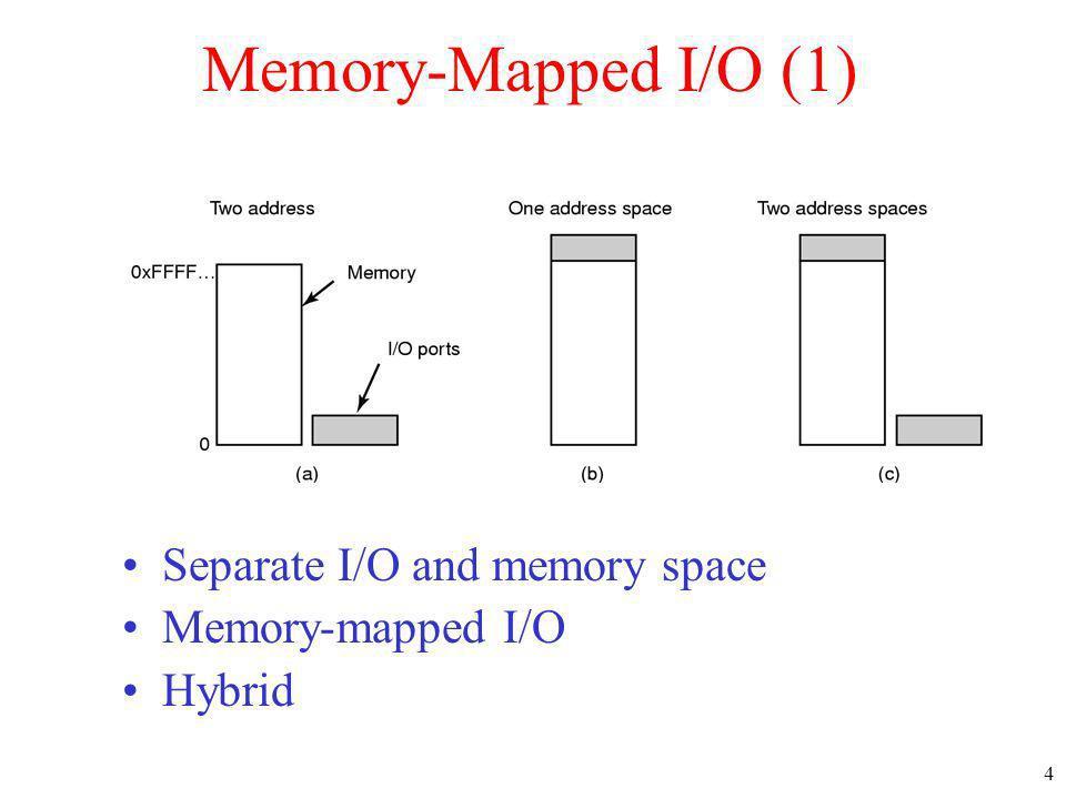 4 Memory-Mapped I/O (1) Separate I/O and memory space Memory-mapped I/O Hybrid