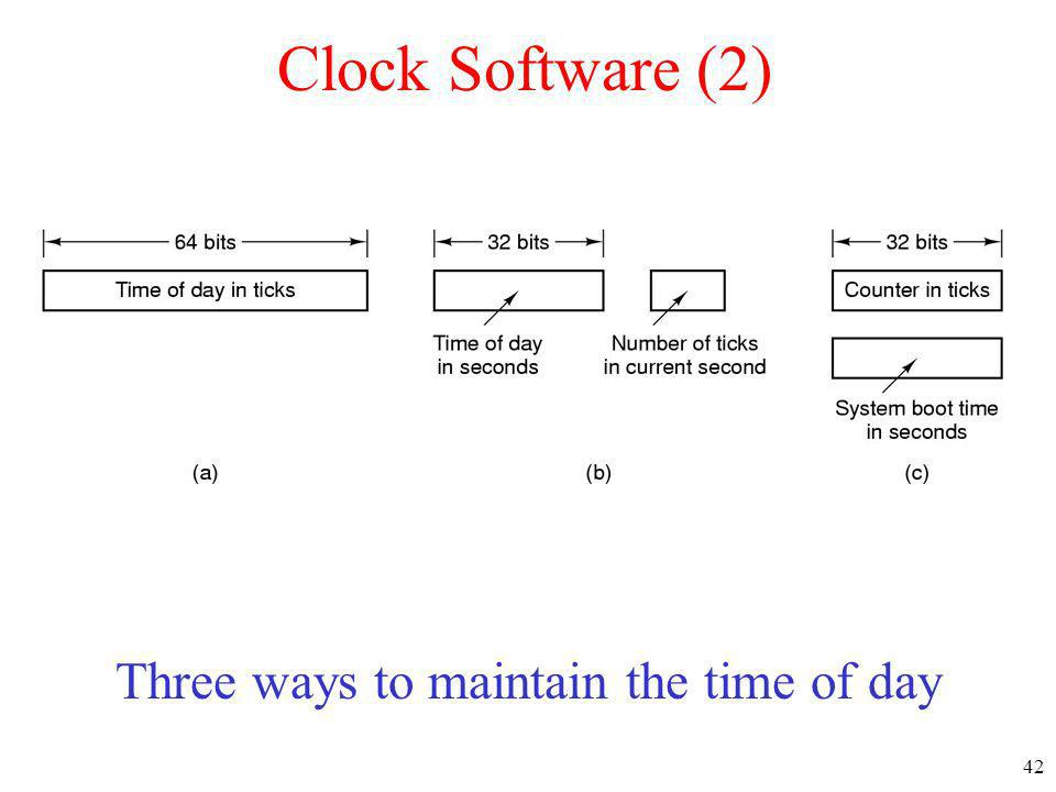 42 Clock Software (2) Three ways to maintain the time of day