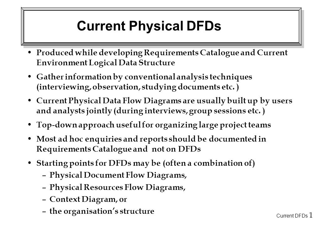 Current DFDs 1 Current Physical DFDs Produced while developing Requirements Catalogue and Current Environment Logical Data Structure Gather information by conventional analysis techniques (interviewing, observation, studying documents etc.