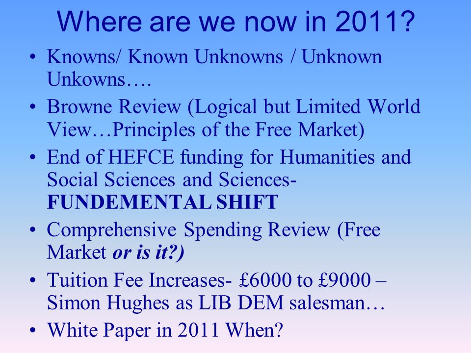 Where are we now in Knowns/ Known Unknowns / Unknown Unkowns….
