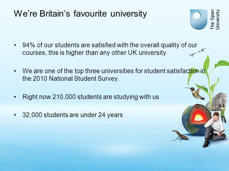 Were Britains favourite university 94% of our students are satisfied with the overall quality of our courses, this is higher than any other UK university We are one of the top three universities for student satisfaction in the 2010 National Student Survey.