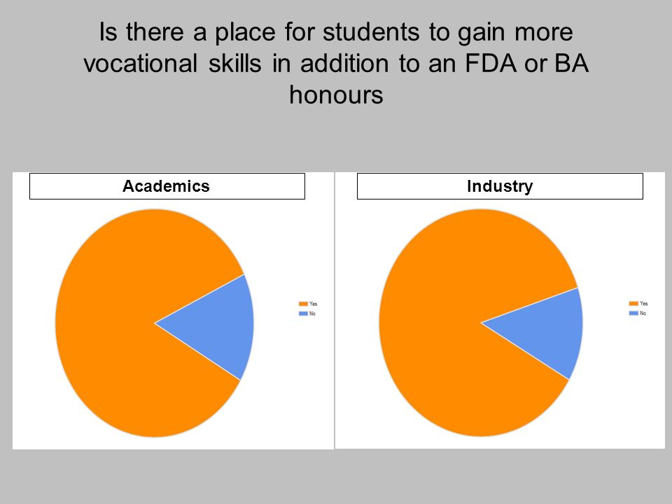 Is there a place for students to gain more vocational skills in addition to an FDA or BA honours IndustryAcademics