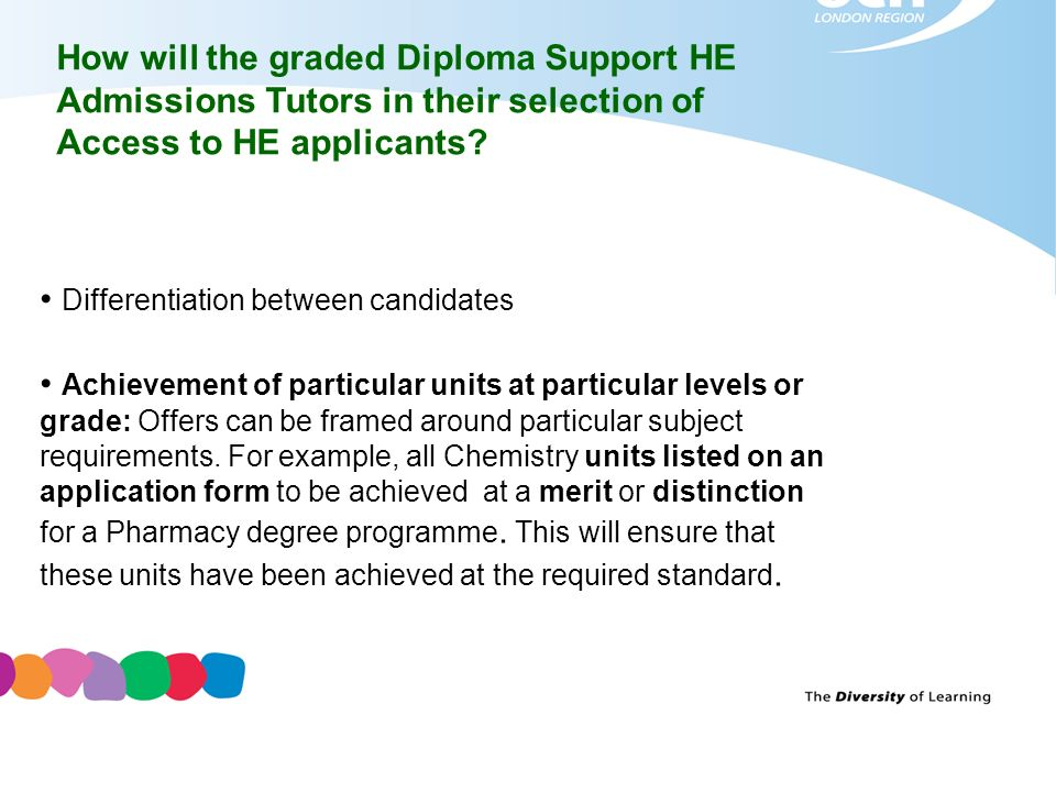 How will the graded Diploma Support HE Admissions Tutors in their selection of Access to HE applicants? Differentiation between candidates Achievement