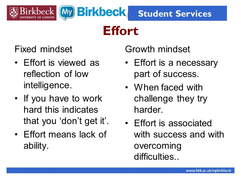 Effort Fixed mindset Effort is viewed as reflection of low intelligence. If you have to work hard this indicates that you dont get it. Effort means la