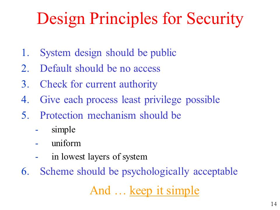 14 Design Principles for Security 1.System design should be public 2.Default should be no access 3.Check for current authority 4.Give each process lea