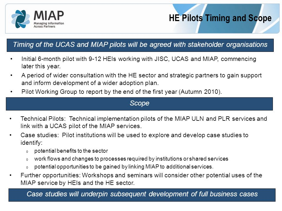 HE Pilots Timing and Scope Timing of the UCAS and MIAP pilots will be agreed with stakeholder organisations Initial 6-month pilot with 9-12 HEIs working with JISC, UCAS and MIAP, commencing later this year.