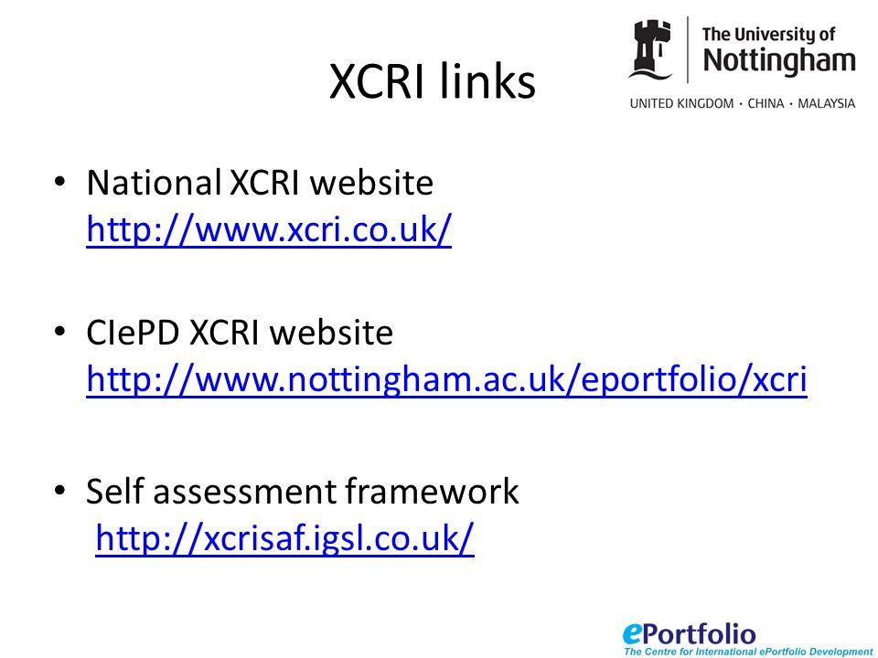 XCRI links National XCRI website http://www.xcri.co.uk/ http://www.xcri.co.uk/ CIePD XCRI website http://www.nottingham.ac.uk/eportfolio/xcri http://www.nottingham.ac.uk/eportfolio/xcri Self assessment framework http://xcrisaf.igsl.co.uk/http://xcrisaf.igsl.co.uk/