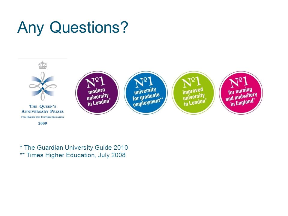 Any Questions * The Guardian University Guide 2010 ** Times Higher Education, July 2008