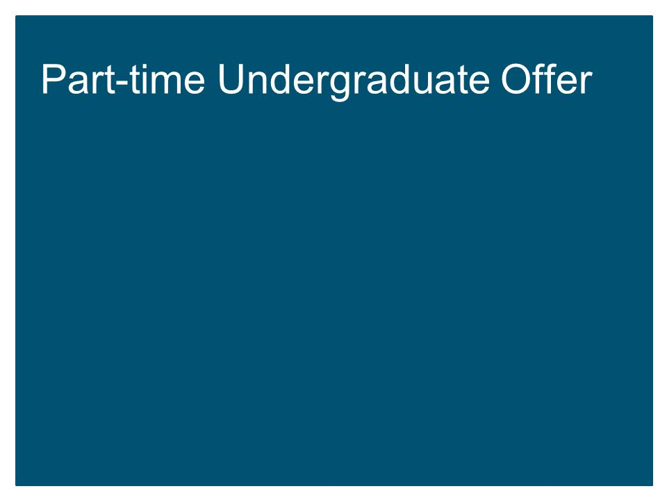 Part-time Undergraduate Offer