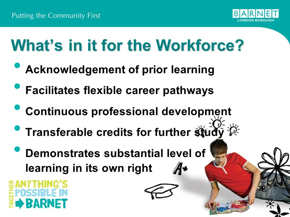 Whats in it for the Workforce? Acknowledgement of prior learning Facilitates flexible career pathways Continuous professional development Transferable