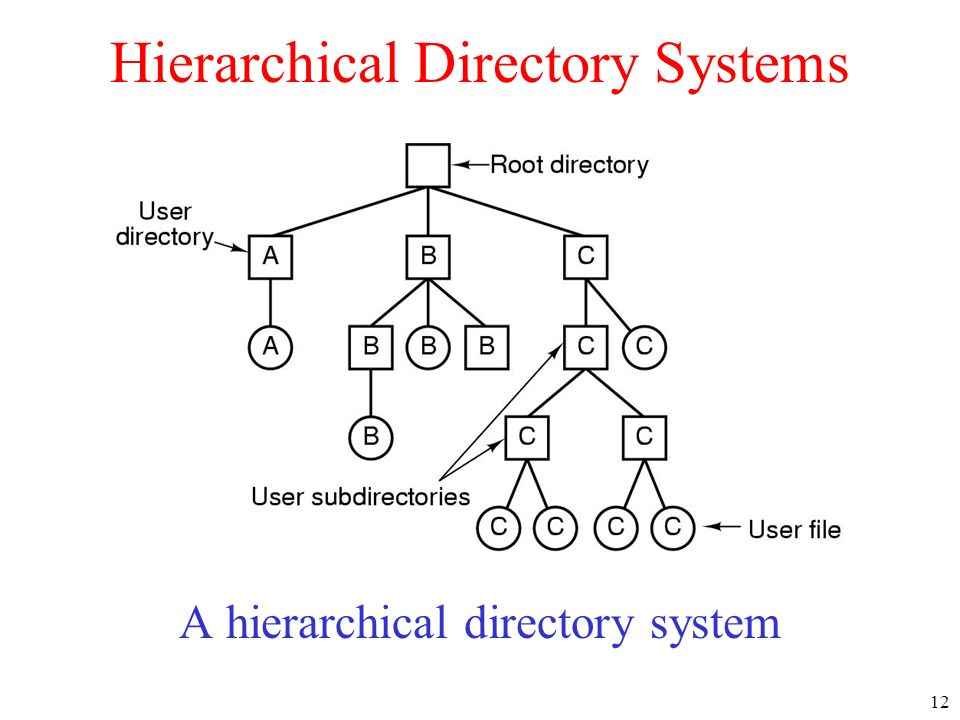 12 Hierarchical Directory Systems A hierarchical directory system