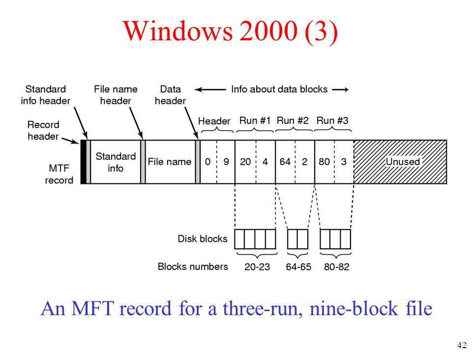 42 Windows 2000 (3) An MFT record for a three-run, nine-block file