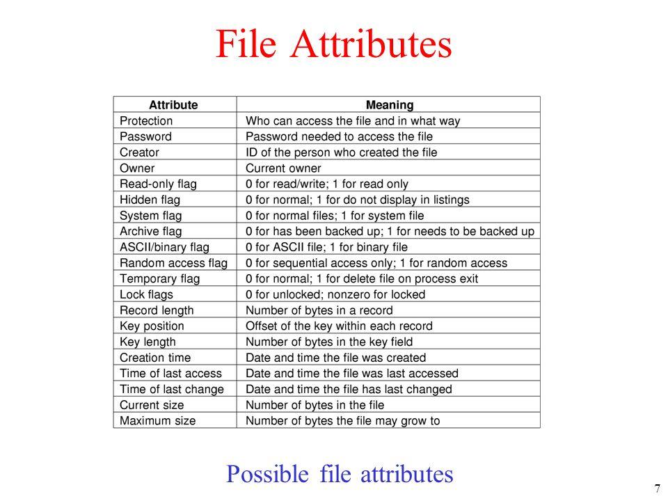 7 File Attributes Possible file attributes