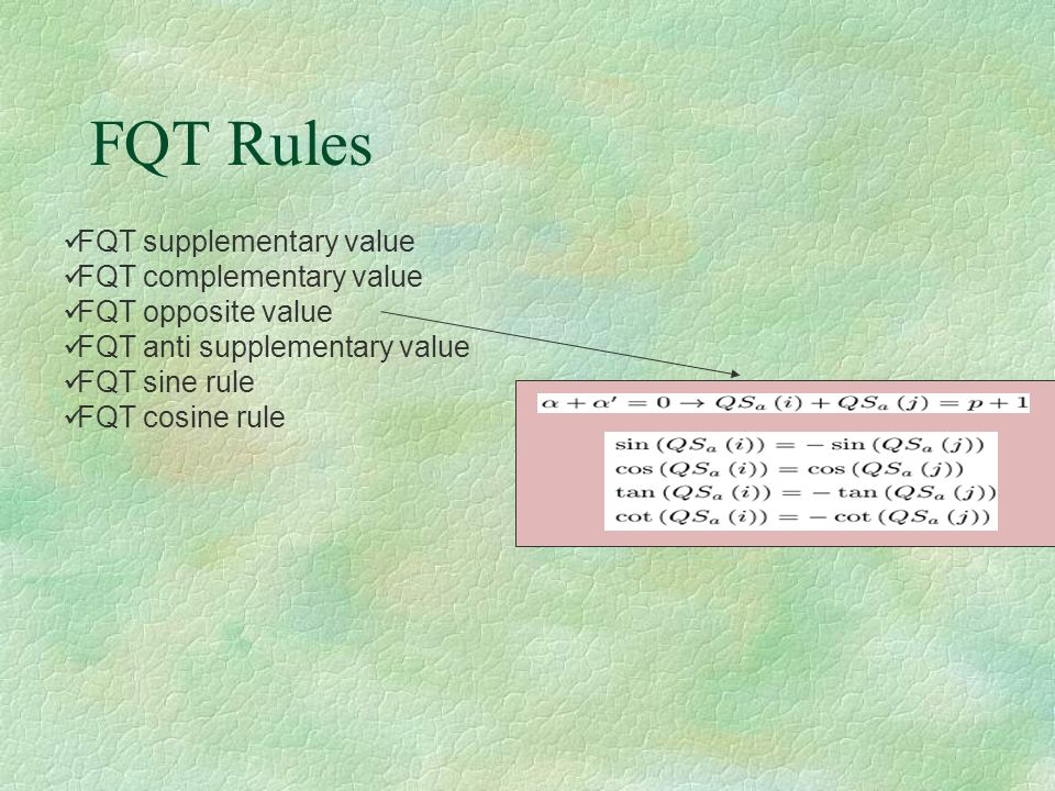 FQT Rules FQT supplementary value FQT complementary value FQT opposite value FQT anti supplementary value FQT sine rule FQT cosine rule