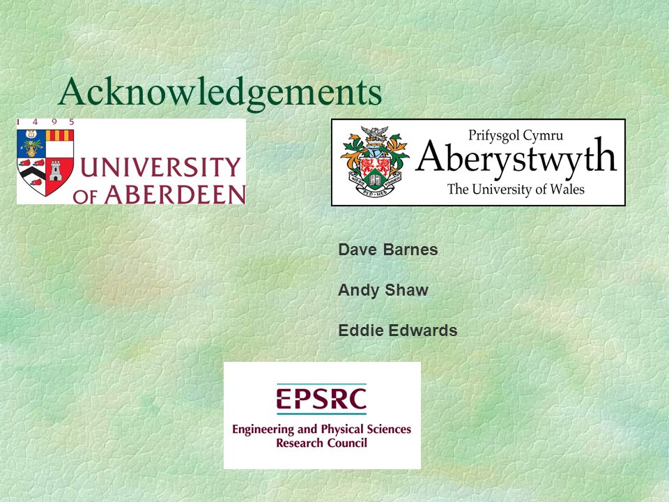 Acknowledgements Dave Barnes Andy Shaw Eddie Edwards