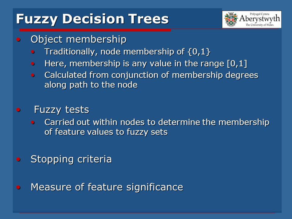 Fuzzy Decision Trees Object membershipObject membership Traditionally, node membership of {0,1}Traditionally, node membership of {0,1} Here, membershi