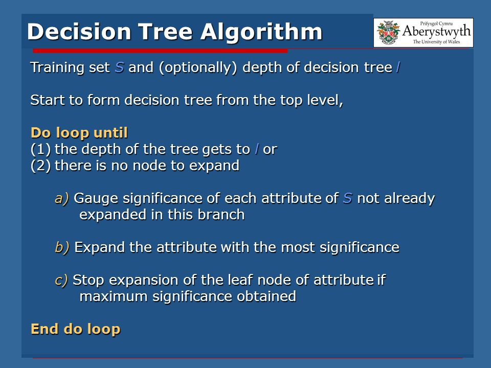Training set S and (optionally) depth of decision tree l Start to form decision tree from the top level, Do loop until (1)the depth of the tree gets t
