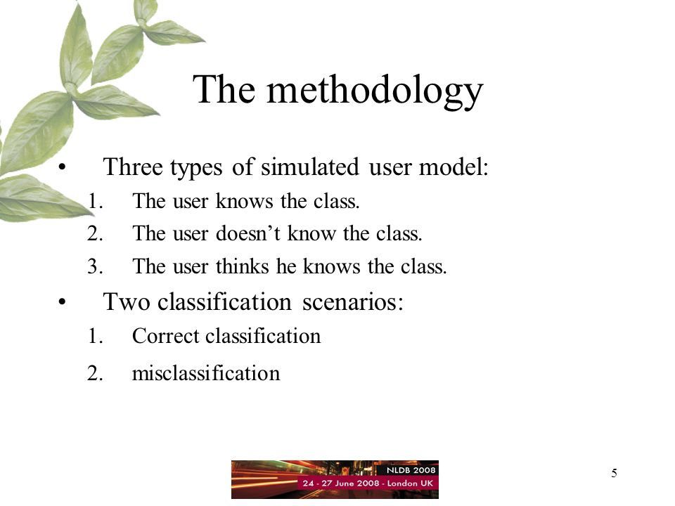 5 The methodology Three types of simulated user model: 1.The user knows the class.