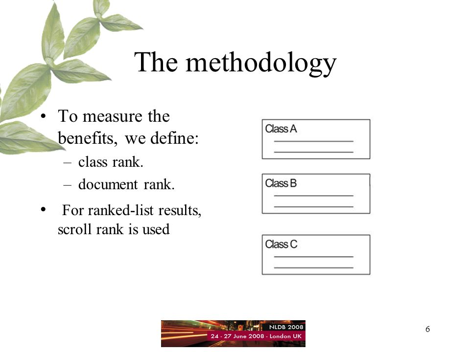7 The Methodology For categorized results, based on different user models and operation scenarios, we define: –In-Class Rank(ICR), –Scrolled-Classification Rank(SCR), –Out-Class/Scroll-Class Rank(OSCR) –Out-Class/Revert Rank(ORR).