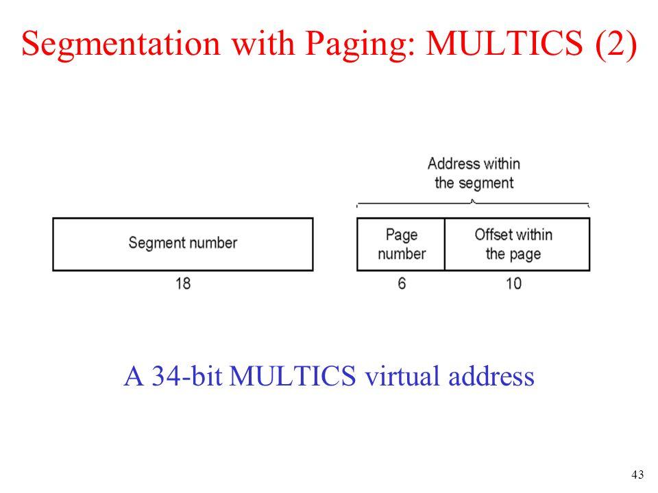 43 Segmentation with Paging: MULTICS (2) A 34-bit MULTICS virtual address