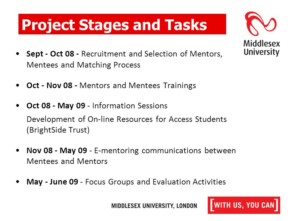 Sept - Oct 08 - Recruitment and Selection of Mentors, Mentees and Matching Process Oct - Nov 08 - Mentors and Mentees Trainings Oct 08 - May 09 - Information Sessions Development of On-line Resources for Access Students (BrightSide Trust) Nov 08 - May 09 - E-mentoring communications between Mentees and Mentors May - June 09 - Focus Groups and Evaluation Activities Project Stages and Tasks
