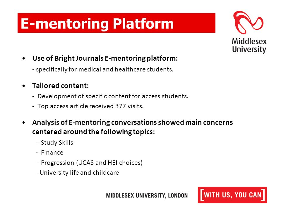 E-mentoring Platform Use of Bright Journals E-mentoring platform: - specifically for medical and healthcare students.