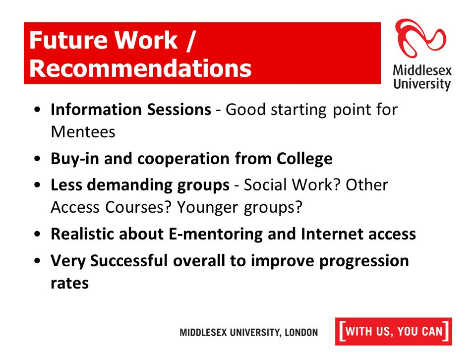 Information Sessions - Good starting point for Mentees Buy-in and cooperation from College Less demanding groups - Social Work.