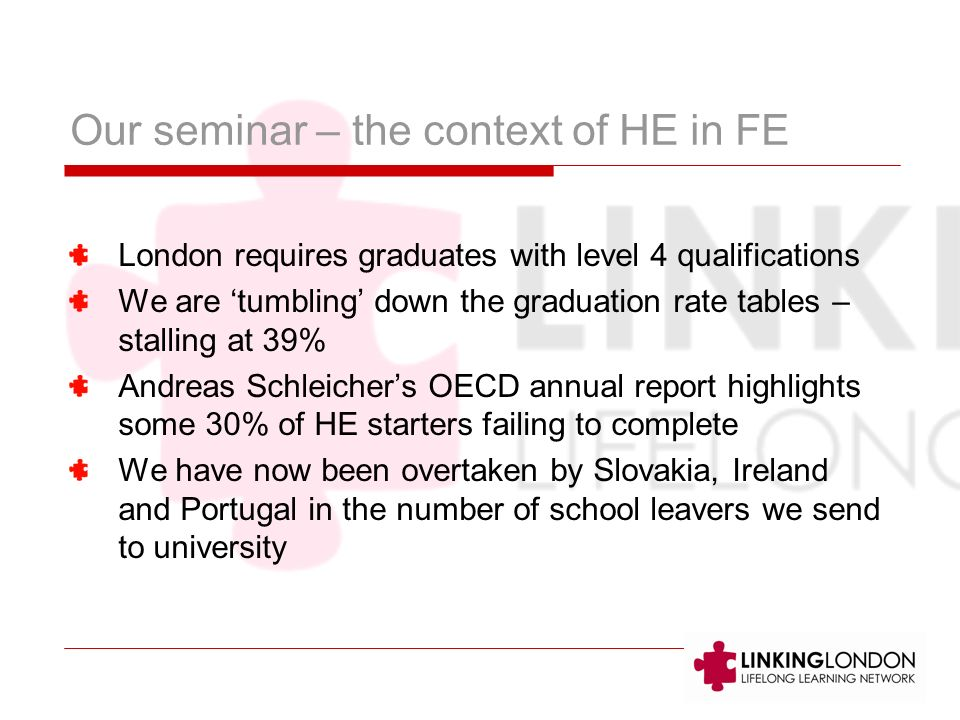 Our seminar – the context of HE in FE London requires graduates with level 4 qualifications We are tumbling down the graduation rate tables – stalling