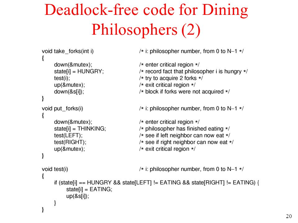 20 Deadlock-free code for Dining Philosophers (2)