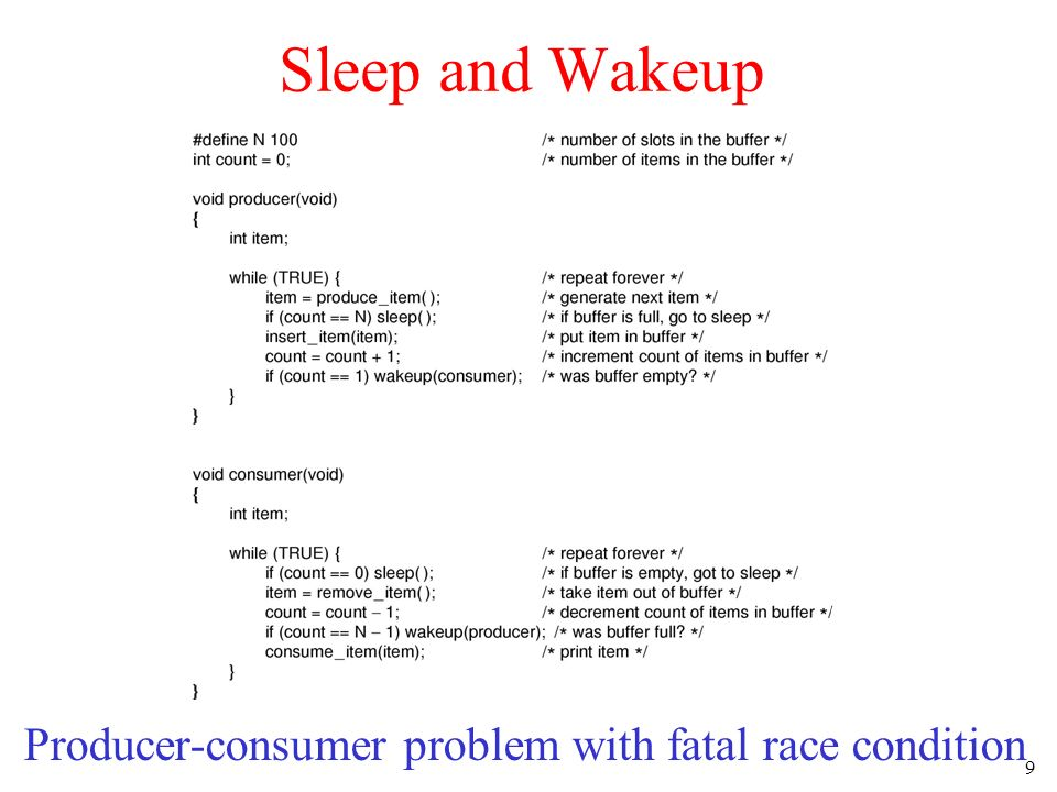 9 Sleep and Wakeup Producer-consumer problem with fatal race condition