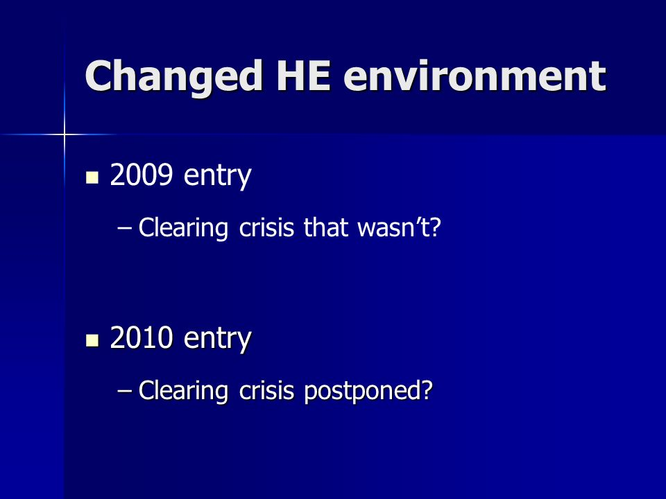 Changed HE environment 2009 entry – –Clearing crisis that wasnt? 2010 entry 2010 entry –Clearing crisis postponed?