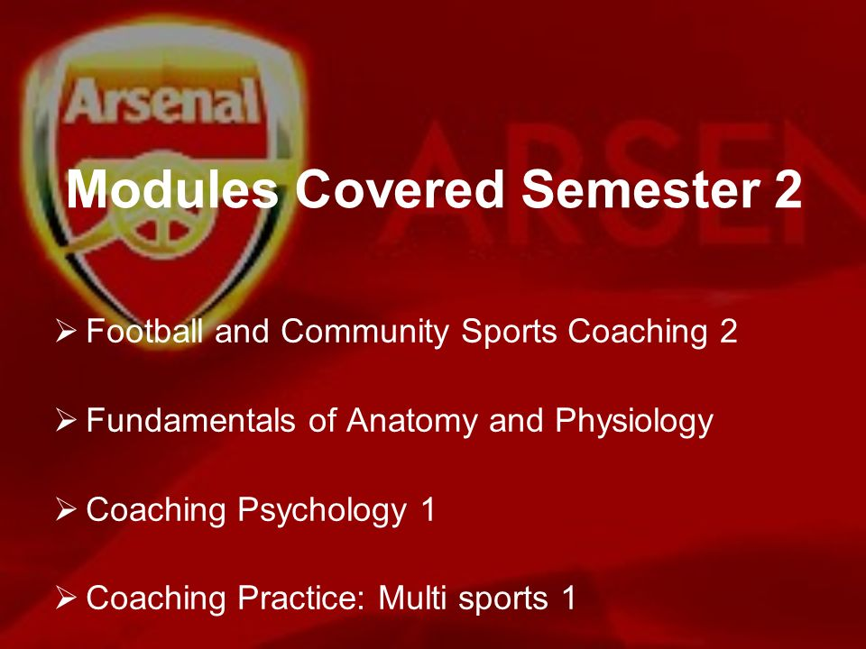 Modules Covered Semester 2 Football and Community Sports Coaching 2 Fundamentals of Anatomy and Physiology Coaching Psychology 1 Coaching Practice: Mu