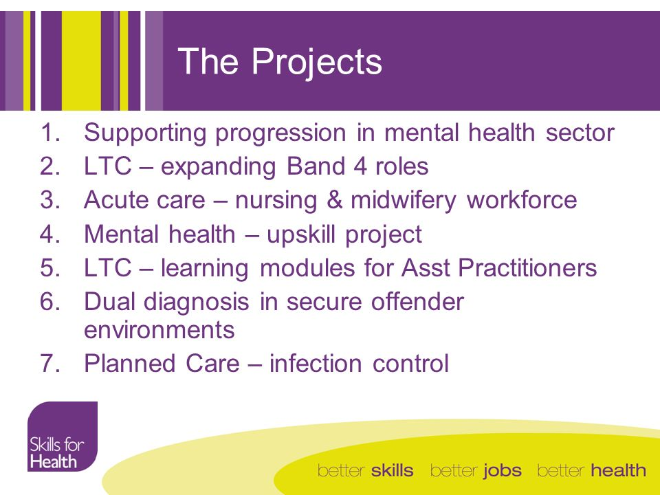 The Projects 1.Supporting progression in mental health sector 2.LTC – expanding Band 4 roles 3.Acute care – nursing & midwifery workforce 4.Mental health – upskill project 5.LTC – learning modules for Asst Practitioners 6.Dual diagnosis in secure offender environments 7.Planned Care – infection control