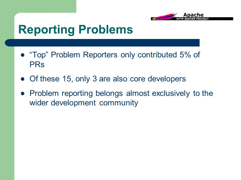 Reporting Problems Top Problem Reporters only contributed 5% of PRs Of these 15, only 3 are also core developers Problem reporting belongs almost exclusively to the wider development community