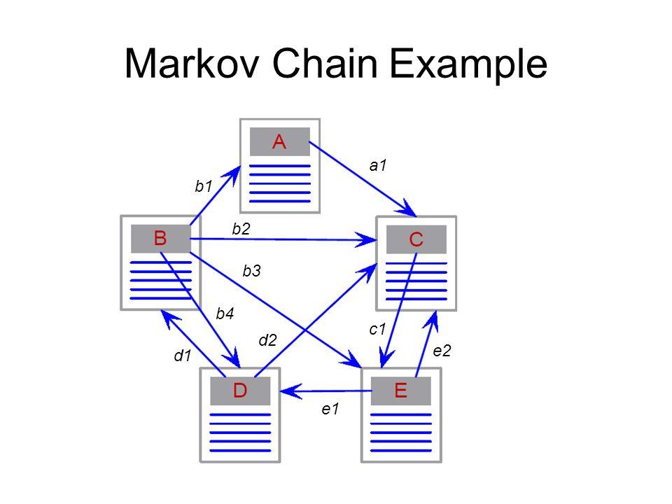 Markov Chain Example b1 a1 b3 b4 d1 d2 e1 e2 c1 b2