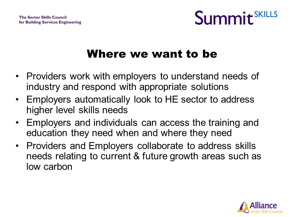 Where we want to be Providers work with employers to understand needs of industry and respond with appropriate solutions Employers automatically look to HE sector to address higher level skills needs Employers and individuals can access the training and education they need when and where they need Providers and Employers collaborate to address skills needs relating to current & future growth areas such as low carbon