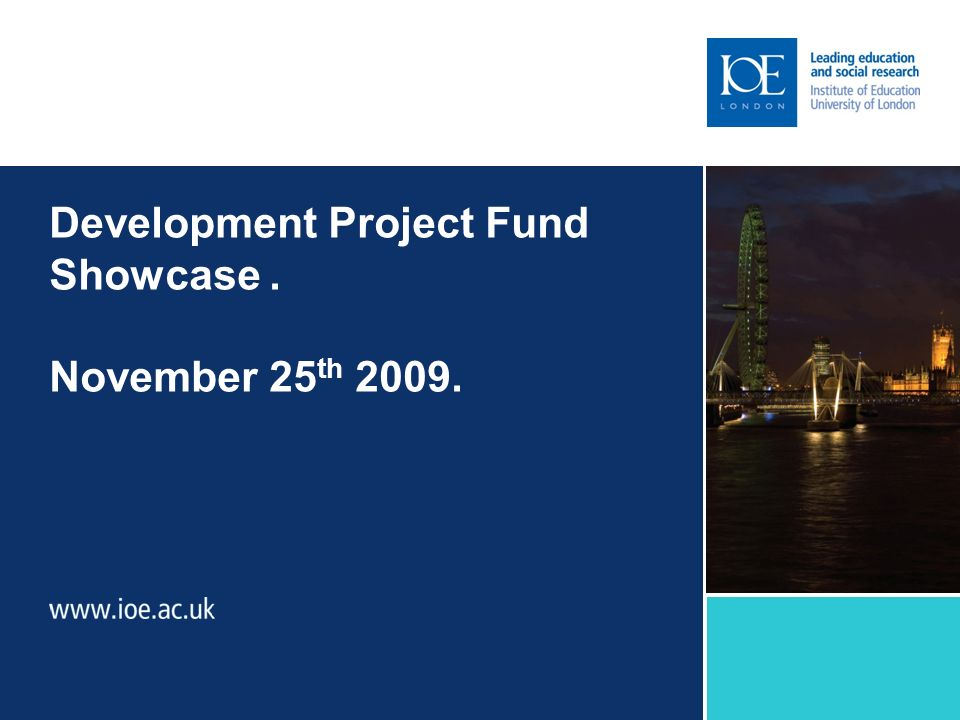 Development Project Fund Showcase. November 25 th 2009.