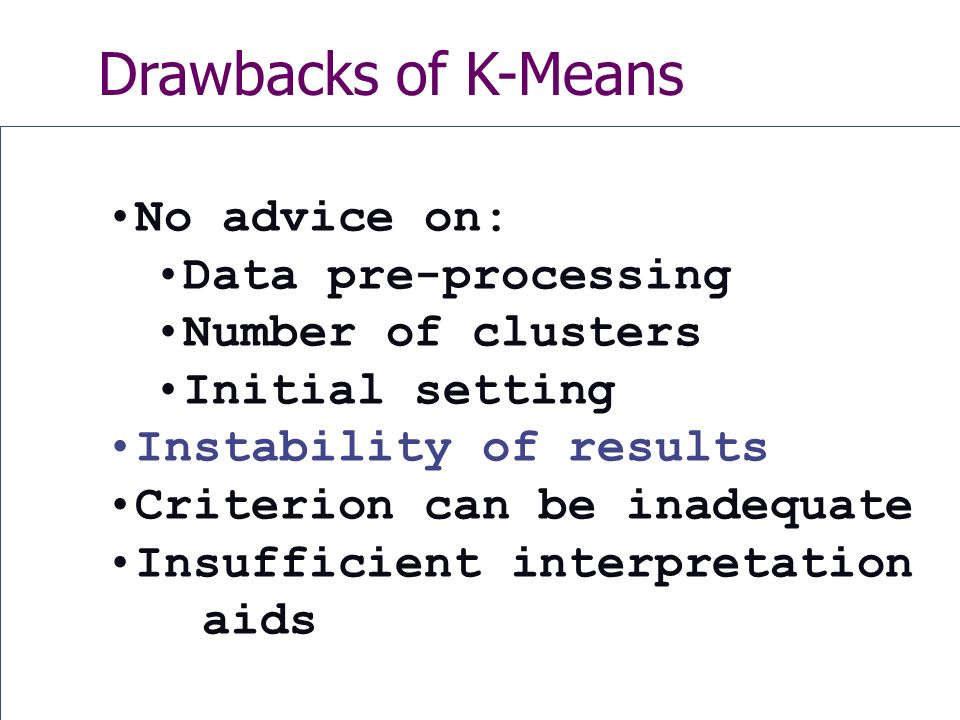Drawbacks of K-Means No advice on: Data pre-processing Number of clusters Initial setting Instability of results Criterion can be inadequate Insufficient interpretation aids