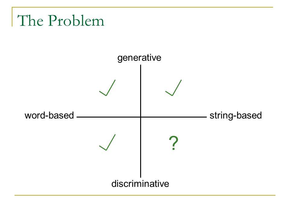 generative discriminative word-basedstring-based ? The Problem
