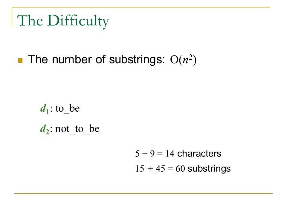 The Difficulty The number of substrings: O(n 2 ) 5 + 9 = 14 characters 15 + 45 = 60 substrings d 1 : to_be d 2 : not_to_be