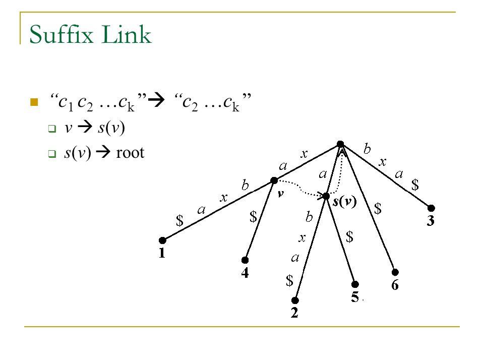 Suffix Link c 1 c 2 …c k c 2 …c k v s(v) s(v) root