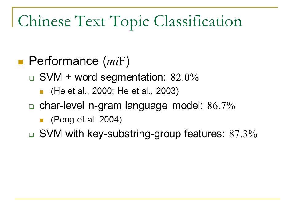 Chinese Text Topic Classification Performance ( miF ) SVM + word segmentation: 82.0% (He et al., 2000; He et al., 2003) char-level n-gram language mod