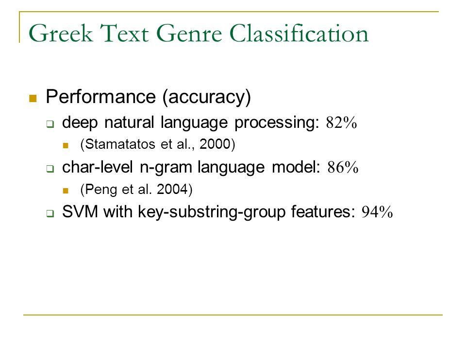 Greek Text Genre Classification Performance (accuracy) deep natural language processing: 82% (Stamatatos et al., 2000) char-level n-gram language mode