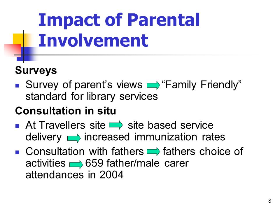 8 Impact of Parental Involvement Surveys Survey of parents views Family Friendly standard for library services Consultation in situ At Travellers site site based service delivery increased immunization rates Consultation with fathers fathers choice of activities 659 father/male carer attendances in 2004